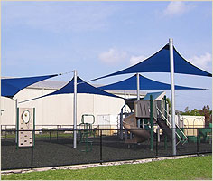 Blue Playground Sail Shade Structure